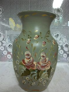 A Hand Painted  Romantic Vase Decorated With A by FolkArtByNancy, $40.00