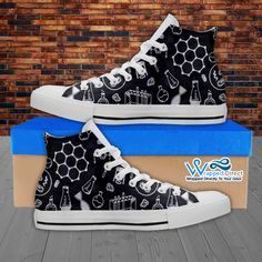 Womens High Top Science Canvas Sneakers In Black/White | Wrapped Direct