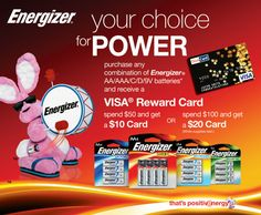 Energizer Rebate: $20 gift card with qualifying purchase