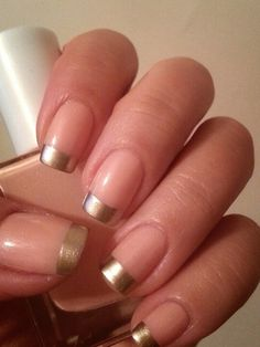 Gold French nail