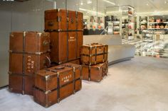 "Prada creates suitcases and chests ispired by the new film ""The Grand Budapest Hotel"" of Wes Anderson. Luxury Brand Names, Grande Hotel, The Royal Tenenbaums, Grand Budapest Hotel, Stylish Handbags, Elements Of Style, Hotel S, In Law Suite, Wes Anderson"