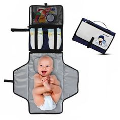 Portable Diaper Changing Pad - Premium Quality Travel Changing Station Kit - Entirely Padded Mat - Mesh and Zippered Pockets - Hassle-free Diapering ON THE GO! - Best of Baby Shower Gifts! Baby Shower Unique, Cheap Baby Shower Gifts, Baby Boy Shower, Diaper Changing Station, Diaper Changing Pad, Diy Bebe, Portable, Clutches, Budget