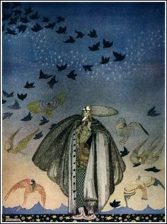 """East of the Sun, West of the Moon: Flock of birds. Illustrated by Kay Nielsen, 1914. His work was the inspiration for the """"Night on Bald Mountain/Ave Maria"""" final sequence of Fantasia."""