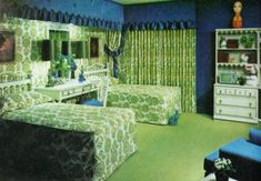 1970s Decor, Retro Bedrooms, Feng Shui, Cool Furniture, Interior Architecture, Vintage Inspired, Emerald, Mint, Interiors