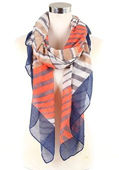 Womens Lightweight Scarf Strip Print Various Designs Muilt Navy Strip -- Continue to the product at the image link.