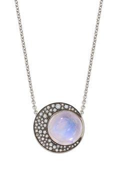 Blue Moonstone Eclipse Pendant by Noor Fares