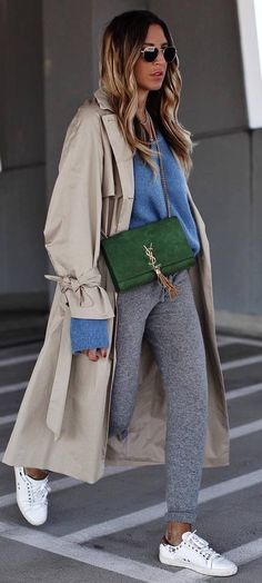 outfit of the day | nude coat blue sweater pants bag sneakers