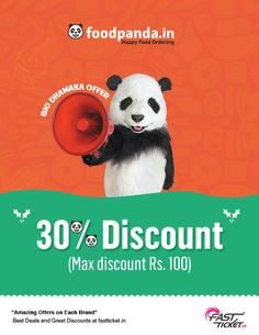 """""""Happy news for all the lovely foody people!   Get this yummy #discount #coupon of @Food Panda for #FREE on same value of #Movie Ticket bookings from Fastticket.in!"""""""