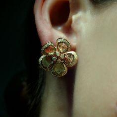 """""""Magnolia"""" Raw Diamond 18K Rose Gold Flower Stud Earrings - Plukka - Shop Fine Jewelry Online"""