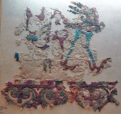 hermitagepazyryk6a.jpg (742×700) Fragment of applique decoration for carpet or wall hanging, depicting bird. Pazyryk barrow no. 5, 252-238 BCE. Felt. Pub.: Rudenko 1953, pl. XC; Rudenko 1970, pl. 149; Golden Deer, p. 273.
