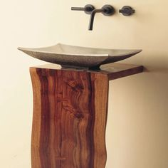 Wood L-Slab Pedestal – Stone Forest Wood Pedestal, Contemporary Baths, Stone Sink, Into The Woods, New Home Designs, Mortise And Tenon, Vessel Sink, Wood Planks, Kitchen And Bath