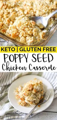 This keto poppy seed chicken casserole is an easy and delicious dish that the entire family will love. Serve it as is or over cauliflower rice or steamed broccoli for a complete meal! Poppy Seed Chicken Casserole, Keto Chicken Casserole, Casserole Recipes, Cauliflower Rice Casserole, Broccoli Casserole, Feta Dip, Fish Recipes, Chicken Recipes, Healthy Recipes