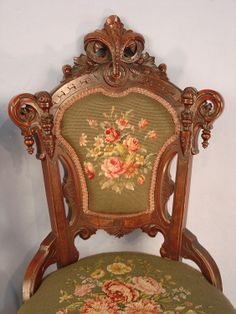 """~ Beautifully Carved """"Victorian"""" Chair With Lovely Needlepoint Upholstery ~"""