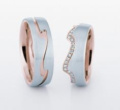 CHRISTIAN BAUER  Matching him-and-her wedding bands with a hint of rose gold.