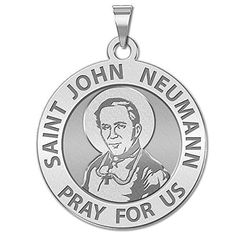 Saint John Neumann Religious Medal  23 Inch Size of Dime Solid 14K White Gold ** See this great product.Note:It is affiliate link to Amazon. #NecklacesCollection