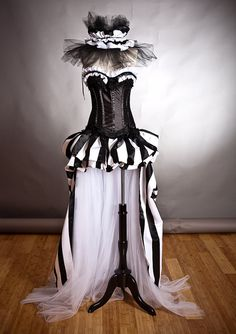 Custom size Black and White striped satin and tulle Circus Harlequin Burlesque corset prom dress with neck piece