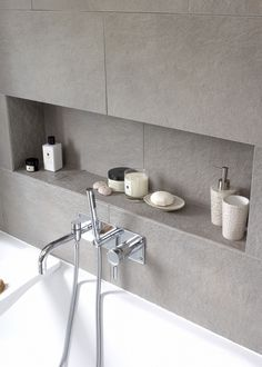 Insert shelves in the bathroom allow your cupboards to be de-cluttered. If styled nicely, they can also create a lovely display.