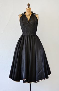 vintage 1950s black taffeta laced waist party dress
