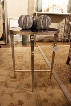 """Champagne Hammered Metal Side Table with Antiqued Mirror Top - 24.5' H x 19.75"""" D"""