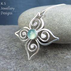Aqua+Chalcedony+Sterling+Silver+Flower+by+KSJewelleryDesigns