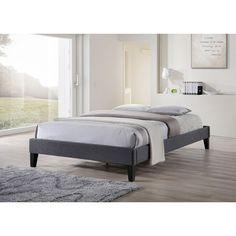 Baxton Studio Leonidas Modern Grey Upholstered Platform Bed (Queen Size Bed-Dark Grey)