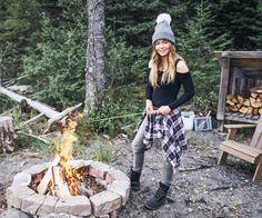"""""""Chilling by the fire."""" Ugh I love her outfit wantttt Garage Clothing, Hiking Training, Summer Cabins, Summer Outfits, Cute Outfits, Stitch Fit, Camping Outfits, Hiking Tips, Best Friend Goals"""