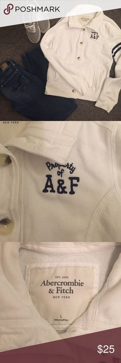 ✨SALE✨ 🏃🏼♀️A & F Button Up Sweatshirt, Size L 🏃🏼♀️Abercrombie & Fitch Button Up Sweatshirt, White with Navy Detailing, Size Large.  Excellent condition, no flaws or stains!   🎉I'm trying to purge my closet so make an offer 😊🎉. All clothing is clean, any flaws will be noted in the description, and come from a smoke free home 😁💁🏼.                                                                                         💫Bundle to save!✨ Abercrombie & Fitch Tops Sweatshirts & Hoodies