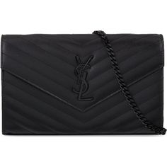 SAINT LAURENT Monogram quilted leather envelope clutch found on Polyvore featuring bags, handbags, clutches, bolsas, monogrammed handbags, chain handle handbags, yves saint laurent purse, zipper purse and snap purse