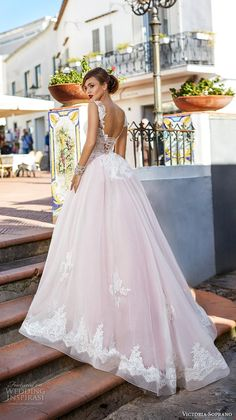 victoria soprano 2017 bridal sleeveless thick strap round neck heavily embellished bodice romantic princess pink ball gown a line wedding dress corset back chapel train (4) bv -- Victoria Soprano 2017 Wedding Dresses