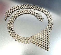 Modernist Silver Chrome Chevron Art Deco Necklace от boylerpf, $125,00