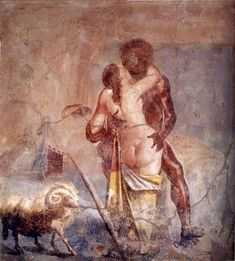 Roman Fresco Excavated From Pompeii  --  The cyclops Polyphemus kissing the nymph Galatea  --  1st Century CE  --  Museo Archeologico Nazionale  --  Naples, Italy