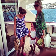 Olivia Palermo in Greece with Tamara Beckwith Veroni and her daughter, Violet.