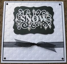 Monochrome Let it Snow, Sue Wilson die and embossing dots - handmade christmas card