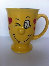 Funny Face Coffee Mug Cup 3D Protruding Nose Footed Winking Eyes Smiling 10 oz