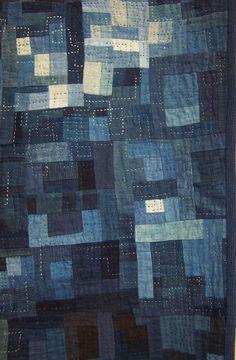 Japanese Indigo freeform quilt detail by Libby Engel