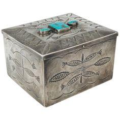 Vintage Navajo Silver Box with Three Turquoise Cabochons, circa 1940 | 1stdibs.com