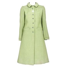 Courreges Green Wool Coat | From a collection of rare vintage coats and outerwear at https://www.1stdibs.com/fashion/clothing/coats-outerwear/