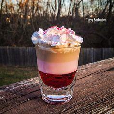 TAINTED LOVE SHOT  Grenadine Tequila Rose Baileys Irish Cream Whipped Cream  Colored Sugar