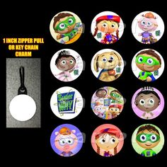Super Why Set of 12 Zipper Pulls Make Great Party Favors