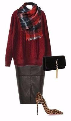 1 кожаная юбка-карандаш = 6 разных образов.