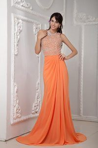 Orange-Column-One-Shoulder-Brush-Train-Chiffon-Beading-Pageant-Dress