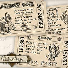 INSTANT DOWNLOAD Alice in Wonderland Tea Party Invitation Tickets printable images digital collage sheet 387