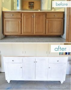 Turn builder grade cabinet into fabulous with furniture feet. Look at this turned leg console over at Pottery Barn with its fabulous furniture feet and came up with the idea to rework our existing vanity by building a new base different from the builder g Home Renovation, Home Remodeling, Bathroom Renovations, Bathroom Makeovers, Kitchen Remodeling, Diy Kitchen, Kitchen Cabinets, Refinish Cabinets, White Cabinets