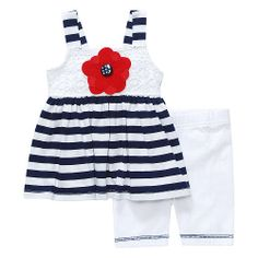 """Youngland Girls 2 Piece Navy and White Stripe Tunic and White Bike Short Set - Kahn Lucas - Babies """"R"""" Us"""