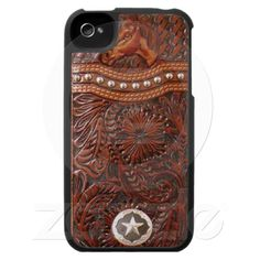"""Beautiful """"Wild Horse"""" Tooled Leather Look IPhone Case. Perfect for any Cowgirl or Cowboy."""