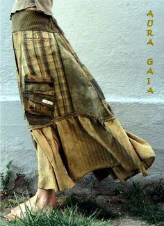AuraGaia Titaness~ Poorgirl BoHo Bustleback Upcycled OverDyed Skirt S-1X Plus