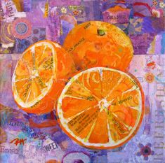 """SLICES of SUNSHINE Original Paper Collage Oranges Painting 6 X 6"""" on Gallery wrapped canvas Apple Painting, Orange Painting, Painted Paper, Hand Painted, Paper Collage Art, Orange Art, Watercolor And Ink, Beautiful Paintings, Love Art"""