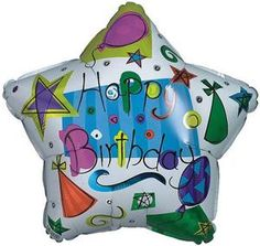 """18"""" Foil Happy Birthday Balloon - 'Stars with Hats'  (pack of 10)"""