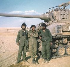 Israeli Soldiers in front of an M50 Super Sherman tank, October 1973