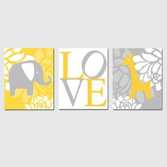 Modern Elephant Giraffe Love Trio - Set of Three 11x14 Nursery Prints - Choose Your Colors - Shown in Yellow, Gray, and More. $59.50, via Etsy.